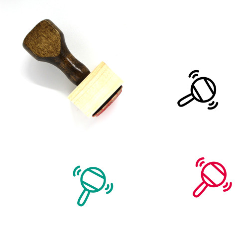 Rattle Wooden Rubber Stamp No. 19