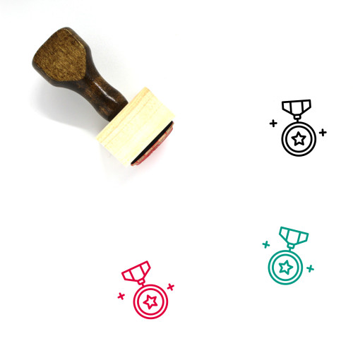 Star Badge Wooden Rubber Stamp No. 26