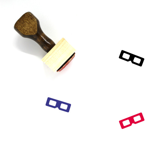 3D Glasses Wooden Rubber Stamp No. 31