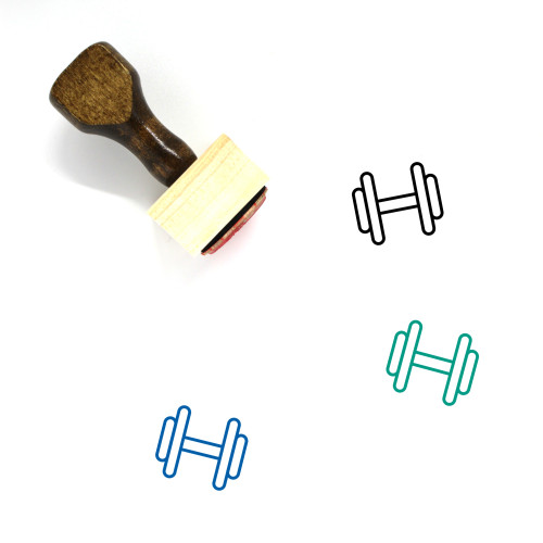 Dumbbell Wooden Rubber Stamp No. 36