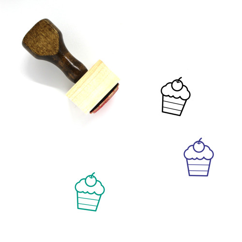 Cupcake Wooden Rubber Stamp No. 76