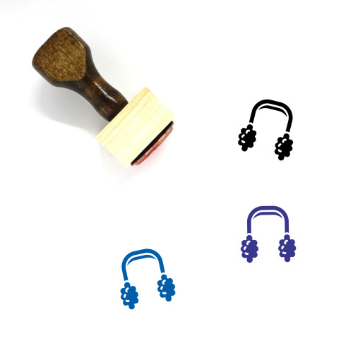 Ear Muffs Wooden Rubber Stamp No. 2