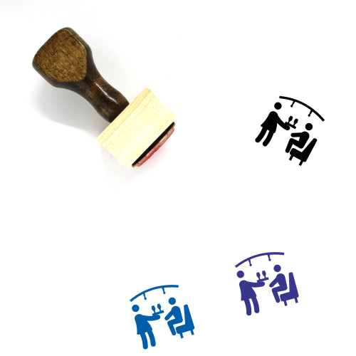 Waiter Vector Icon Wooden Rubber Stamp No. 2