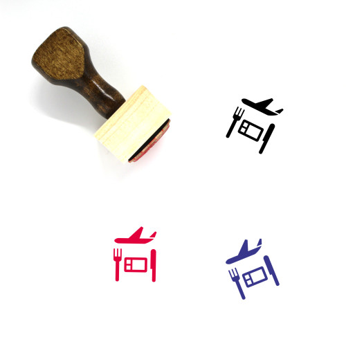 Airplane Food Wooden Rubber Stamp No. 5