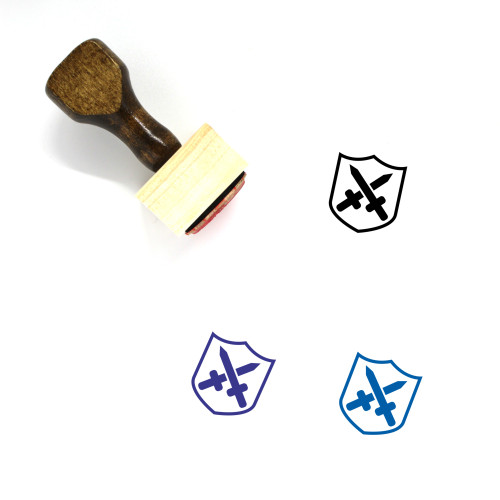 Shield Wooden Rubber Stamp No. 677