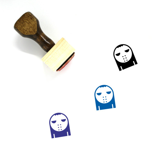 Scary Mask Wooden Rubber Stamp No. 1