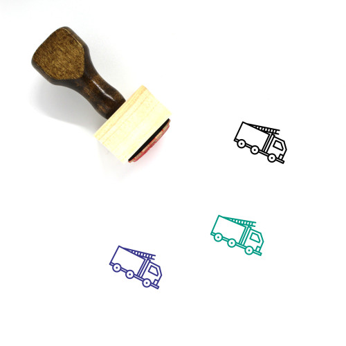 Fire Truck Wooden Rubber Stamp No. 30