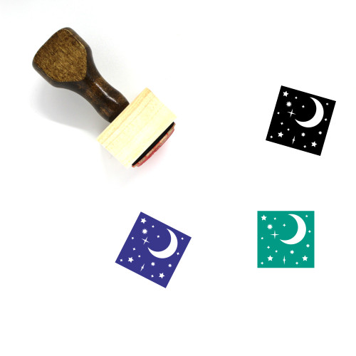 Night Sky Wooden Rubber Stamp No. 5