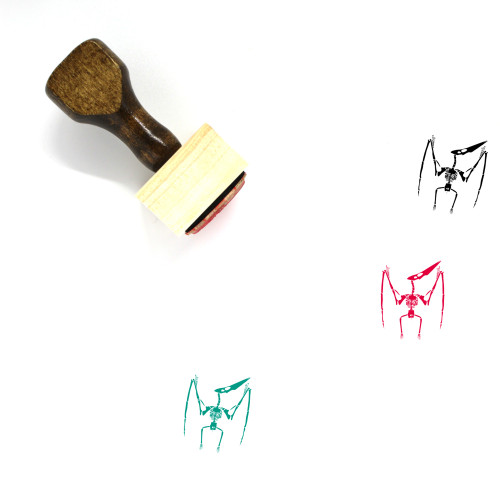 Pterodactyl Skeleton Wooden Rubber Stamp No. 1