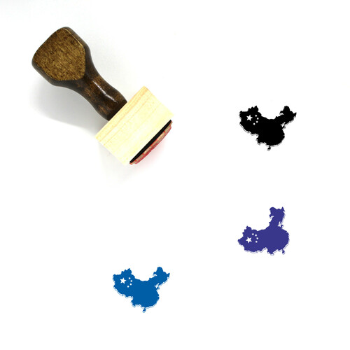 China Map Wooden Rubber Stamp No. 5