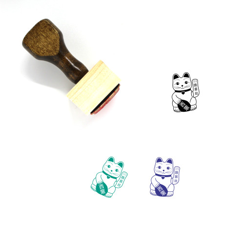 Lucky Cat Wooden Rubber Stamp No. 4