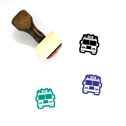 Fire Truck Wooden Rubber Stamp No. 34