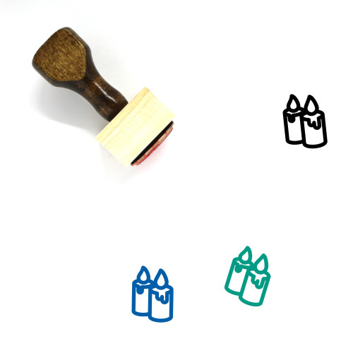 Candles Wooden Rubber Stamp No. 76