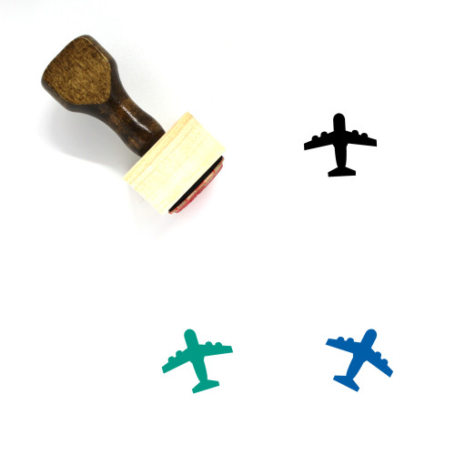 Airplane Wooden Rubber Stamp No. 53