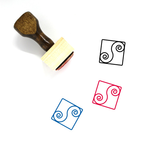 Abstract Wooden Rubber Stamp No. 31