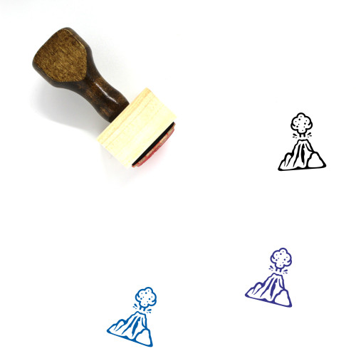 Volcano Eruption Wooden Rubber Stamp No. 3