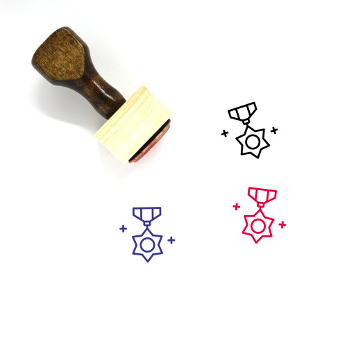 Star Badge Wooden Rubber Stamp No. 29
