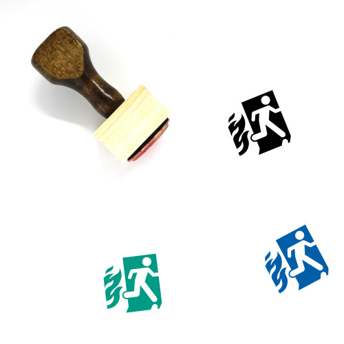 Fire Exit Wooden Rubber Stamp No. 4