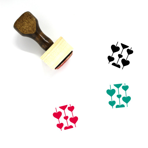 Heart Pattern Wooden Rubber Stamp No. 14