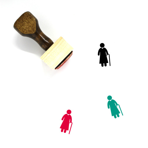 Old Lady Wooden Rubber Stamp No. 4
