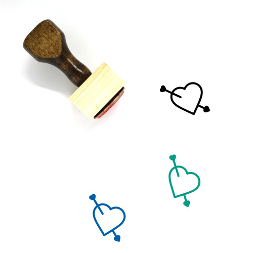 Heart And Arrow Wooden Rubber Stamp No. 14