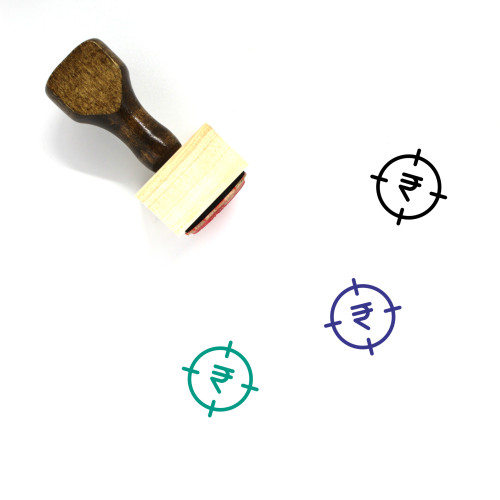 Rupee Target Wooden Rubber Stamp No. 1