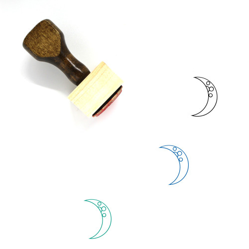 Waxing Crescent Wooden Rubber Stamp No. 10