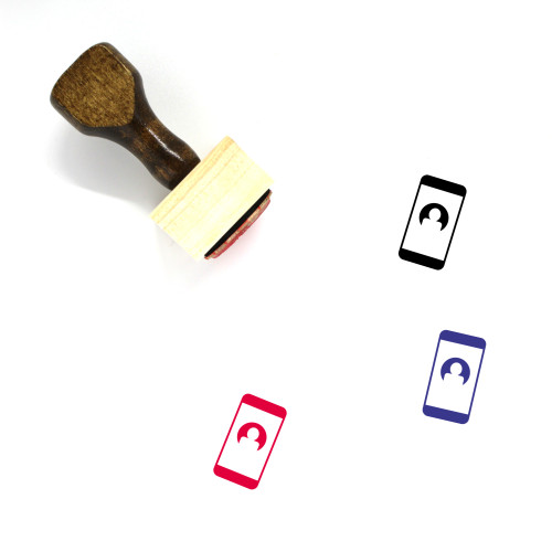 Mobile Contact Wooden Rubber Stamp No. 1