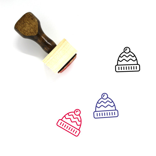 Bobble Hat Wooden Rubber Stamp No. 3