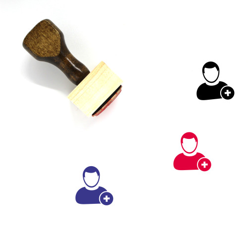 Add User Wooden Rubber Stamp No. 9