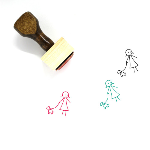 Girl With Pet Wooden Rubber Stamp No. 3