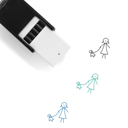 Girl With Pet Self-Inking Rubber Stamp No. 3
