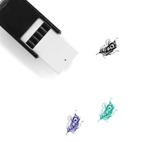Peacock Feather Self-Inking Rubber Stamp No. 3