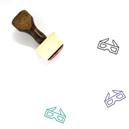3D Glasses Wooden Rubber Stamp No. 37