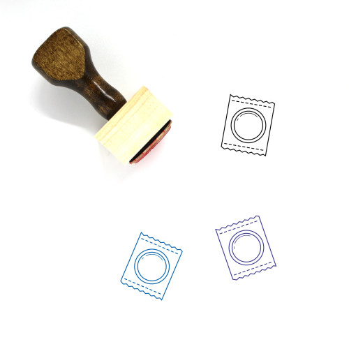 Condom Pack Wooden Rubber Stamp No. 1