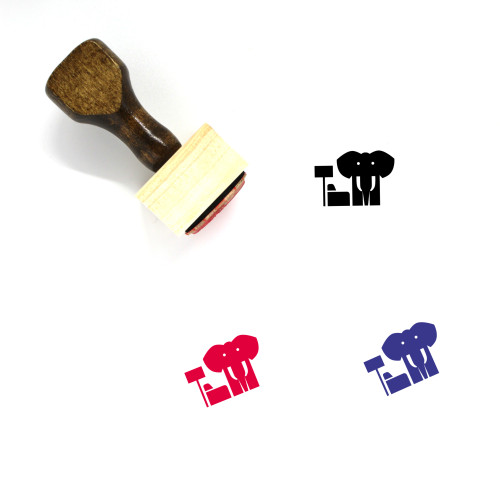 Elephant Wooden Rubber Stamp No. 58