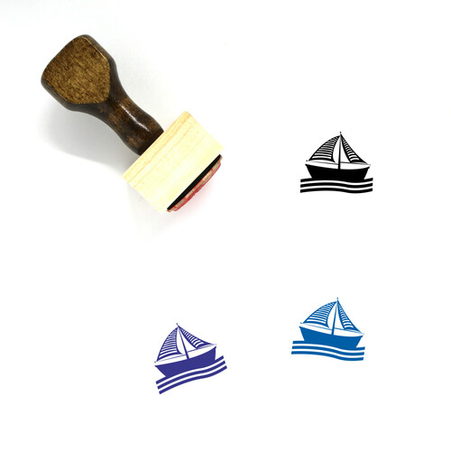 Boat Wooden Rubber Stamp No. 88