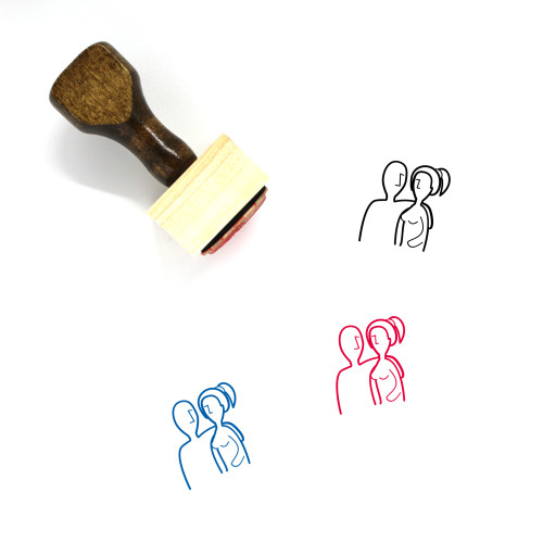Couple Wooden Rubber Stamp No. 102
