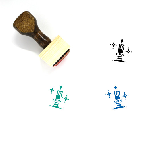 Candlestick Wooden Rubber Stamp No. 8