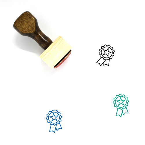Ribbon Badge Wooden Rubber Stamp No. 62