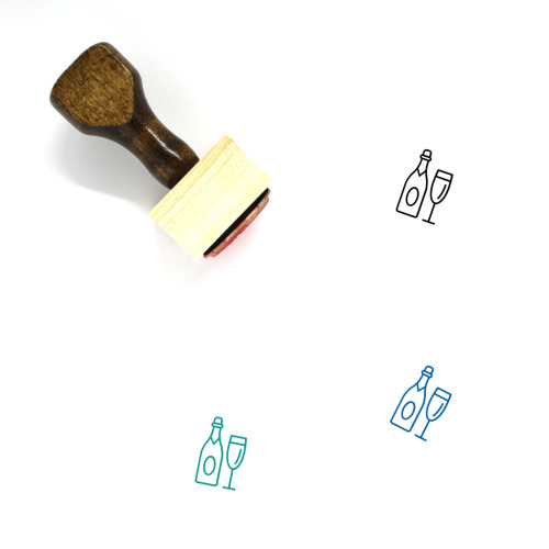 Champagne Wooden Rubber Stamp No. 1