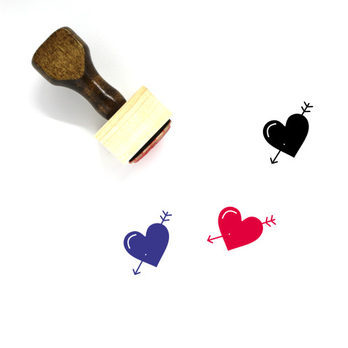 Arrow Heart Wooden Rubber Stamp No. 14
