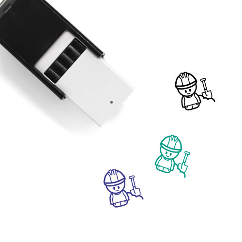 Construction Worker Self-Inking Rubber Stamp No. 48