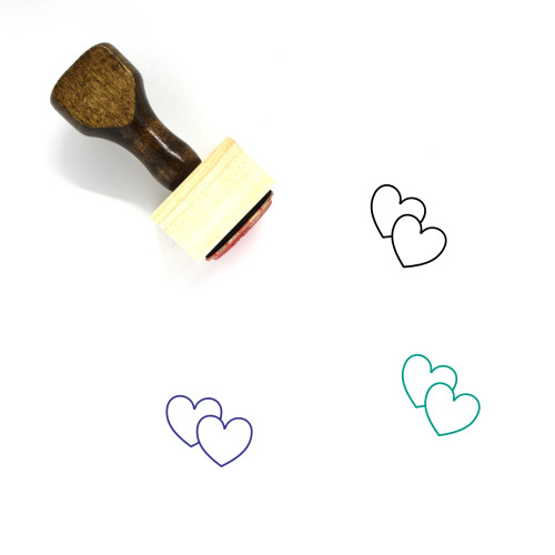 Hearts Wooden Rubber Stamp No. 263