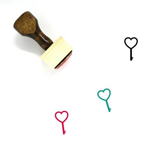 Heart Key Wooden Rubber Stamp No. 39