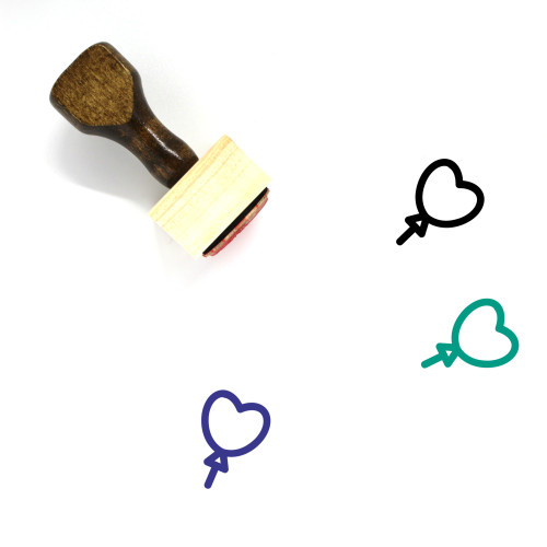 Heart Balloon Wooden Rubber Stamp No. 26