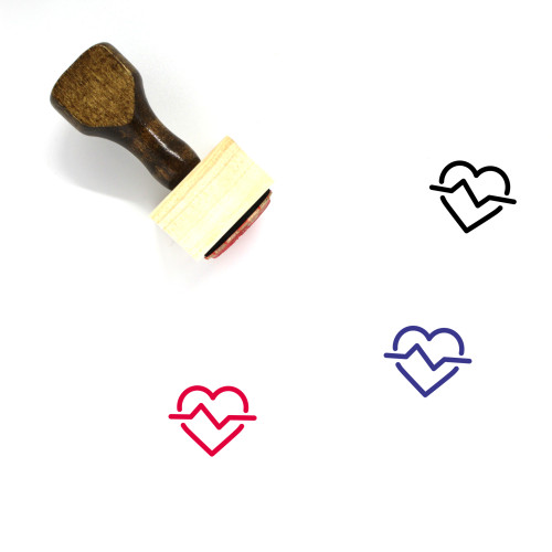 Heart Beat Wooden Rubber Stamp No. 34