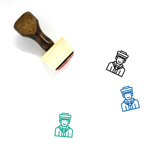 Navy Wooden Rubber Stamp No. 12