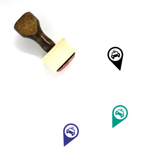 Map Marker Icon Wooden Rubber Stamp No. 43