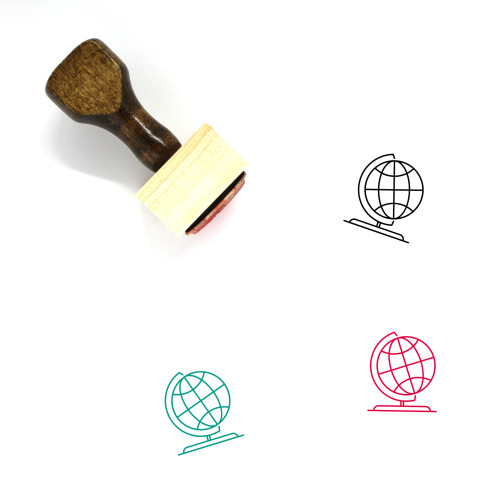 Earth Globe Wooden Rubber Stamp No. 40
